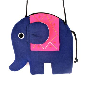 Elephant Shaped Animal Shoulder Bag in Dark Blue and Pink | DOTOLY