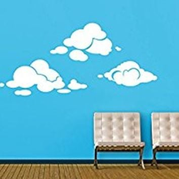 Wall Decal Vinyl Sticker Decals Art Decor Design Clouds Set of CloudsRain Sun Kids Children Nursery Night Style Dorm Bedroom (r350)