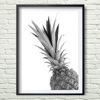 Pineapple Print, Pineapple Art, Tropical Print, Tropical Wall Art, Tropical Decor, Black and White, Pineapple Wall Art, Printable Art *109*