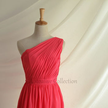Coral One Shoulder Chiffon Bridesmaid Dress/Prom Dress Knee Length Short Dress Prom Dress