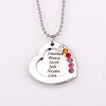 Family Heart Pendant Necklace  with Birthstones  (up to 6 names/stones)