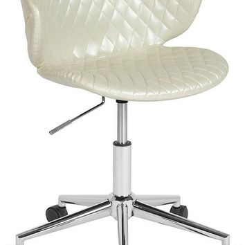 Cambridge Home and Office Upholstered Low Back Chair in Ivory Vinyl [LF-9-17-IVR-GG]