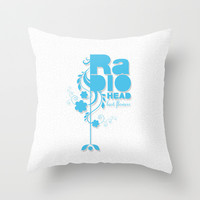 """Radiohead """"Last flowers"""" Song / Blue version Throw Pillow by LilaVert"""
