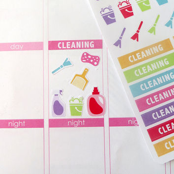Cleaning Kit Stickers for Erin Condren Planner, Filofax, Plum Paper
