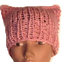Pussy Hat in Bubble Gum Pink Crochet or Knit Handmade Women's March Pussy Hat Women Power Woman's Rights Are Human Rights