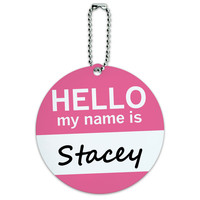 Stacey Hello My Name Is Round ID Card Luggage Tag