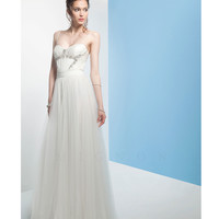 Mignon White Pleated Chiffon Evening Gown