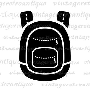 Printable Digital School Backpack Download Education Artwork Graphic Image Vintage Clip Art for Transfers Printing etc HQ 300dpi No.4366
