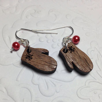 Wood mitten earrings - dangle, wood charm, glass red pearl, silver tone earwires, gift, winter, snowflake, handmade, nickel/lead free
