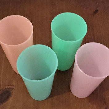 Vintage 1950s Set of Four (4) Pastel Tupperware 16 Ounce Tumblers / Peach, Blue, Pink, Green / 107-23 / Retro Mid Century