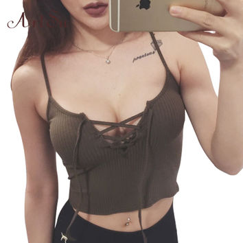 ArtSu Summer Women Harajuku Front Cross Bandage Strappy Bustier Casual Crop Tank Top Bralette Brandy Melville Knitted Camis 252