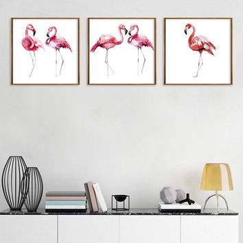 Nordic Canvas Painting Pink Flamingos Picture Wall Art Home Decor Animal Poster Living Room Bedroom Home Decor Painting