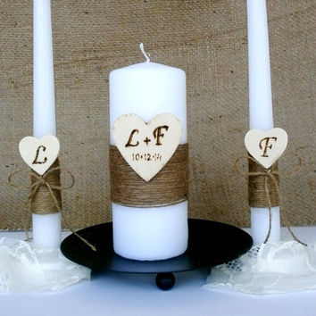 Unity Candle Set Rustic Unity Candle Burlap Church Ceremony Set