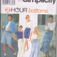 Easy sewing pattern for mock sarong skirt, wide leg, pull on shorts or pants misses plus size L XL 18 20 22 24 Simplicity 9432 UNCUT