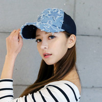 Unisex Spring Summer Fashion Sun Hat Denim Baseball Cap Women Adjustable Hip-hop Ventilate Net Snapback Headwear Sun Shading