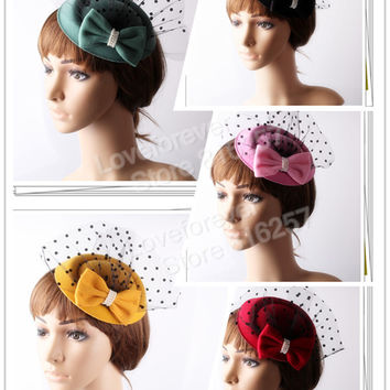 Free ship 8 colors mini partys hats with veil great for bridal hair accessories wedding hats fascinator hair accessories OF1551