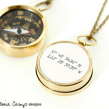 Latitude and Longitude Coordinates Compass Necklace, Working Pocket Compass, Travel, Graduation Gift, Anniversary, Birthplace