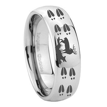10MM Classic Mirror Dome Deer Hunting Tracks Tungsten Carbide Silver Men's Ring