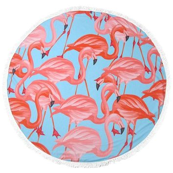 Fringed Jumbo Round Cotton Beach Towel with Tassels - Flamingo Flock