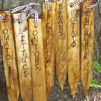 Gifts for Gardeners, Mother's Day, Outdoor Primitive Rustic Garden Plant Markers, Garden Signs, Handmade, Wooden Signs, Garden Decor,