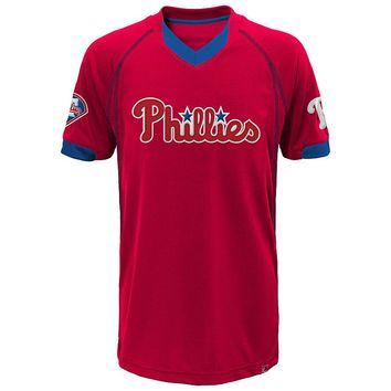 Majestic Philadelphia Phillies Lead Hitter V-Neck Raglan Top - Boys 8-20, Size: