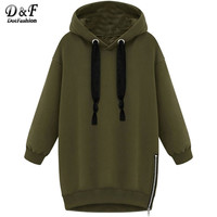 2016 Brand Vintage Style Women Winter Clothes Oversized Hoodies Hooded Long Sleeve Zipper Casual Sale Loose Sweatshirt