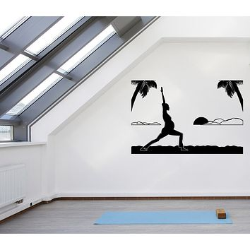Large Vinyl Decal Wall Silhouette of Pregnant Girl Yoga Seaside at Sunset Unique Gift (n1154)