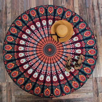 CREYU3C New Peacock Mandala Tapestries Hippie Tapestries Wall Art Hippie Indian Fashion
