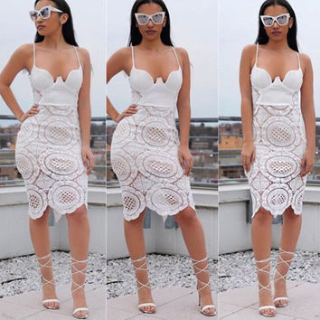 Sexy White Spaghetti Strap Hollow Out Lace Patchwork Knee-Length Dress