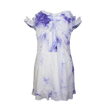 Tie Dye Ruched Off Shoulder Dress