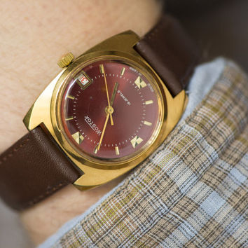 Mint condition men's wrist watch gold plated Vostok burgundy face watch rectangular case Russian man accessory premium leather