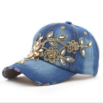 VONG2W 2017 Fashion  Full Crystal Floral  Sport Outdoor Denim Baseball Cap Bling Rhinestone hip hop Adjustable Snapback Hat for women