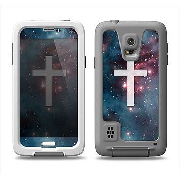 The Vector White Cross v2 over Red Nebula Samsung Galaxy S5 LifeProof Fre Case Skin Set
