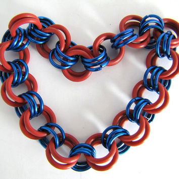Cyber Deal of the Day/Steampunk No. 546 Chain Maille Stretchy Bracelet Red & Blue made with Rubber Rings and Jump Rings