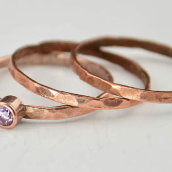 Thin Copper Pink Spinel Ring, Hammered Copper,  Pink Spinel Mother's Ring,  October Birthstone Ring, Copper Jewelry, Pink Spinel Ring