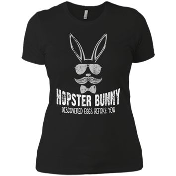 Hopster Bunny Funny Easter T-Shirt With Hipster Bunny Next Level Ladies Boyfriend Tee