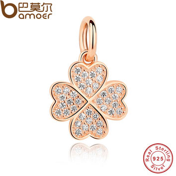 925 Sterling Silver Symbol Of Lucky In Love Rose Gold Plated & Clear CZ Four-Leaf Clover Pendant Charms Fit Bracelet PAS210