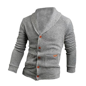 Sweater Lapel Mens Cardigan Sweater Fashion Knitted Sweater Coat of Cultivate One's Morality