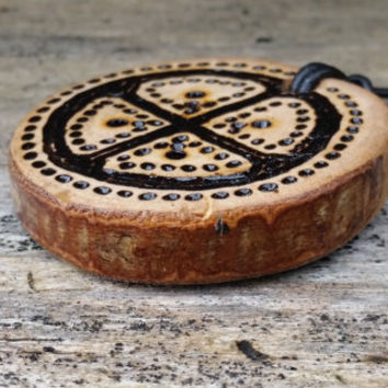 Odin's Cross pendant, Solar Cross disc, Sun Cross necklace, Wheel of Taranis, wooden pendant, pyrographied design, Asatru pagan, Norse Gods