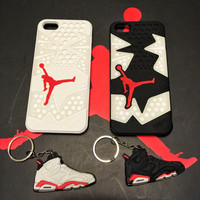 LOT 2 Black and White Infrared 6 Michael Air Jordan iPhone 5 5s Cases FREE Matching key chain Shoe Sole Rubber Silicone awesome wedding gift