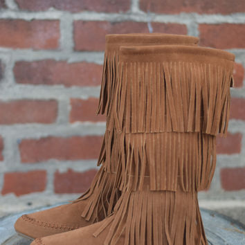 Cherokee 3 Layer Fringe Boot by Nature Breeze {Tan Suede}