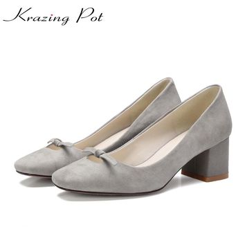 2017 bowtie sheep suede New hot fashion brand spring shoes square toe young med heels women pumps party office lady handmade L39