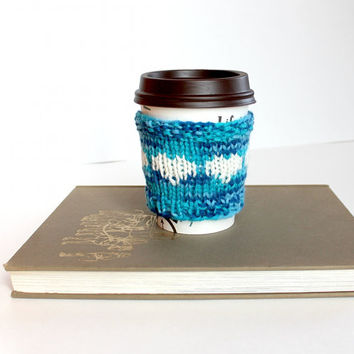 Wool Drink Cozy, Knit Cup Sweater, Blue Coffee Cozy, Iced Coffee Cozy, Spring Cup Cozy, Gift for Mom, Reusable Cup Cozy, Eco Friendly Gift