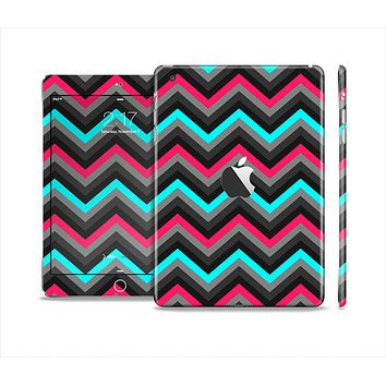 The Sharp Pink & Teal Chevron Pattern Skin Set for the Apple iPad Mini 4