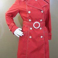 Groovy 60s Red and White Pea Coat - Great Detail and Execellent Condition