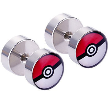 Mecoo Lead&nickel Free Surgical Steel Piercing Pokeball Logo Earring 5 Pairs