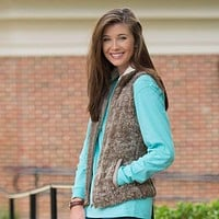 Heathered Zip Sherpa Vest in Walnut by The Southern Shirt Co.