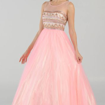 Scoop Neck Embellished Bodice Tulle A-line Ball Gown in Pink/Champagne