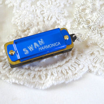 1- Blue Harmonica Necklace Small Swan Music Making Instrument Pendant Music Festival Unisex Necklace