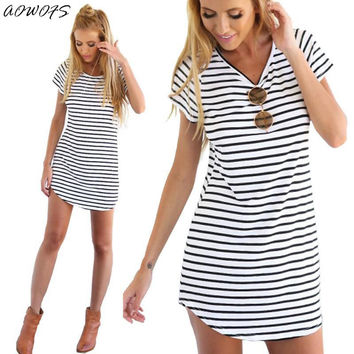Fashion Summer Style Women Casual Loose Short Sleeve O-Neck Loose Striped Print Dresses Casual Mini Dress Stylish Gift
